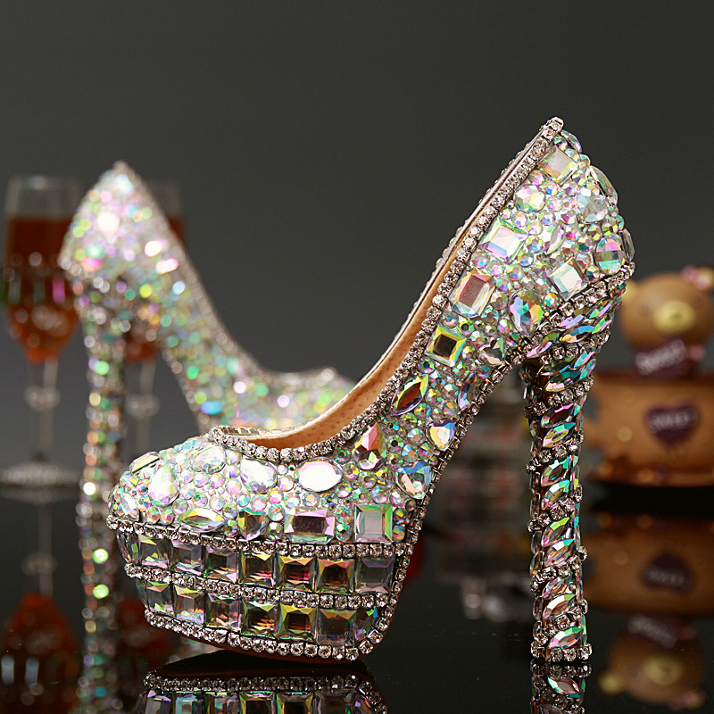 Sexy font b Women b font Pumps Handmade Female Crystal Diamond Wedding Shoes Fashion font b