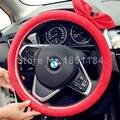 Милые Женщины Бантом Замши Бархат Авто Руль Охватывает 15 дюймов 38 СМ Бесплатная Доставка