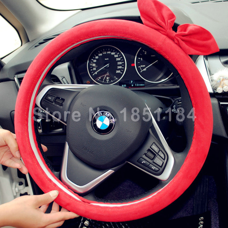 Cute Cartoon Female Bowknot Suede Velvet Car Steering Wheel Covers 15 inch 38CM Free Shipping