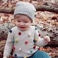 Hot 2016 niños bola suéter para las niñas cuello alto para las niñas cardigan bebé suéter envío libre suéter de cachemira de punto de algodón 2-7 T
