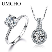UMCHO Solid 925 Sterling Silver Jewelry Ring Pendants Necklaces For Women Wedding Jewelry Set Engagement Christmas Gift New 2018