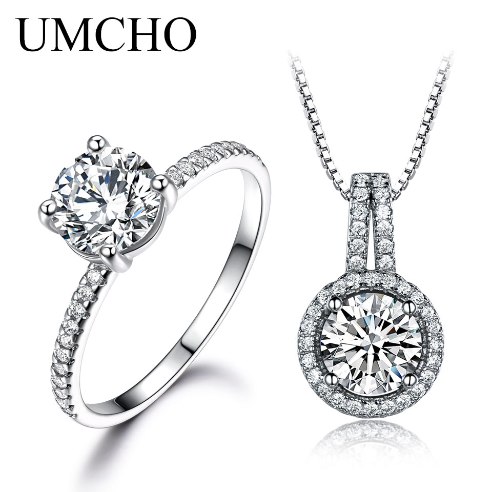 UMCHO Solid 925 Sterling Silver Jewelry Zircon Ring Pendants Necklaces For Women Wedding Jewelry Set Engagement Wedding Gift