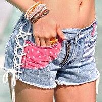 Impressão coreano Buraco Feminino Sexy Shorts Jeans atravessar tira patchwork américa bandeira detalhes cowgirl Jeans rasgado fora fêmea