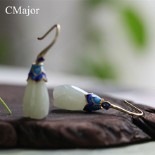 CMajor Gold Color Cloisonne Enamel Earrings Michelia Alba Shaped Hetian Natural Stone Earring Handmade Elegance Silver Jewelry