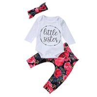 Newborn Baby Girl Cotton Clothing Tops Romper Flower Pants 3Pcs Outfits Set Autumn Winter Clothes Carters