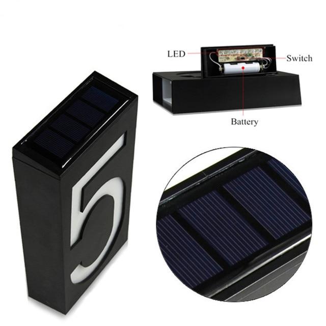 Mur extérieur lumière LED solaire numéro de maison éclairage extérieur plaque de porte Auto lampe porche lumières avec numéro de batterie solaire pour la maison