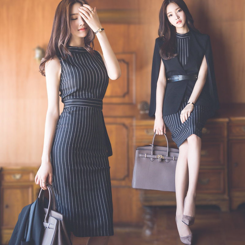 Высокое качество европейских и американских женщин Весенняя Новинка Офисные пиджак кейп платье без рукавов юбка костюм