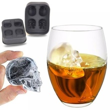 Halloween Party 3D Skull Flexible Silicone Ice Cube Mould Tray Makes Four Giant Skull
