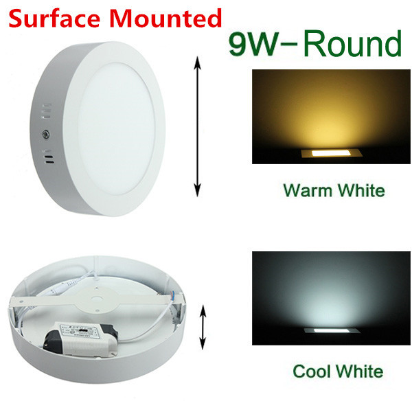 9W Surface Mounted LED Ceiling Light Round LED Down Light Panel Light with driver 85-265V Warm White/White/Cold White tl19d24x1w 24w led driver white blue 85 265v