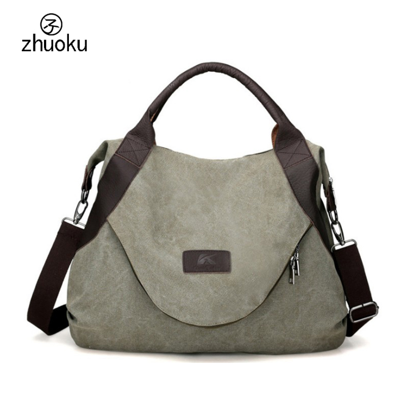 zhuoku Casual Womens Handbag Shoulder Handbags women Canvas Leather Capacity Tote Bags For Women 2019 Large Pocket Casualzhuoku Casual Womens Handbag Shoulder Handbags women Canvas Leather Capacity Tote Bags For Women 2019 Large Pocket Casual