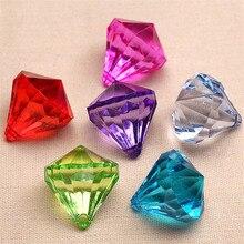 20 개/몫 2.3cm 여러 가지 빛깔의 교수형 펜던트 다이아몬드 샹들리에 아크릴 크리스탈 비즈 홈 DIY 웨딩 파티 공예 장식