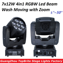 Free Shipping High Quality Zoom Led Mini Beam Wash Moving Head Light 7x12W 4in1 RGBW Quad Professional DJ Disco DMX Stage Lights