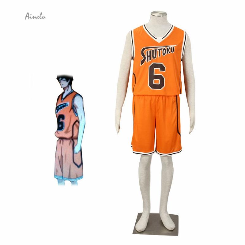 Ainclu Free Shipping Orange Kuroko no basket No. 6 Midorima Shintaro Cosplay Costume Shutoku Basketball Costume