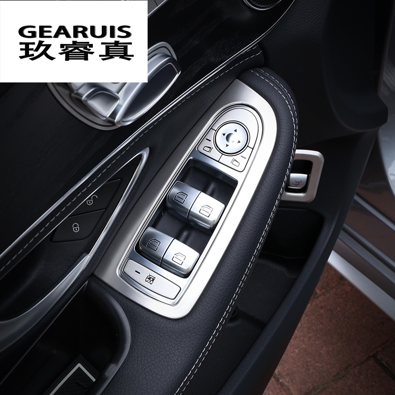 Car-styling cover trim window lift button switch sequin stainless steel interior Bright For Mercedes Benz New C Class GLC Refit glc coupe решетка радиатора amg