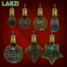 LARZI 3D Светодиодная лампа звезда фейерверк E27 Винтаж Edison ночной Светильник 220V A60 ST64 G80 G95 G125 праздник новинка украшения светильник Инж