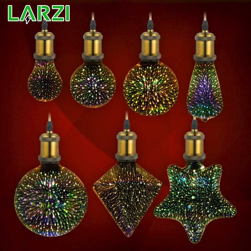 LARZI 3D Led Bulb Star Fireworks E27 Vintage Edison Night Light 220V A60 ST64 G80 G95 G125 Holiday Novelty Decoration Lighting