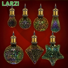 LARZI 3D Led Bulb Star Fireworks E27 Vintage Edison Night Light 220V A60 ST64 G80 G95 G125 Holiday Novelty Decoration Lighting
