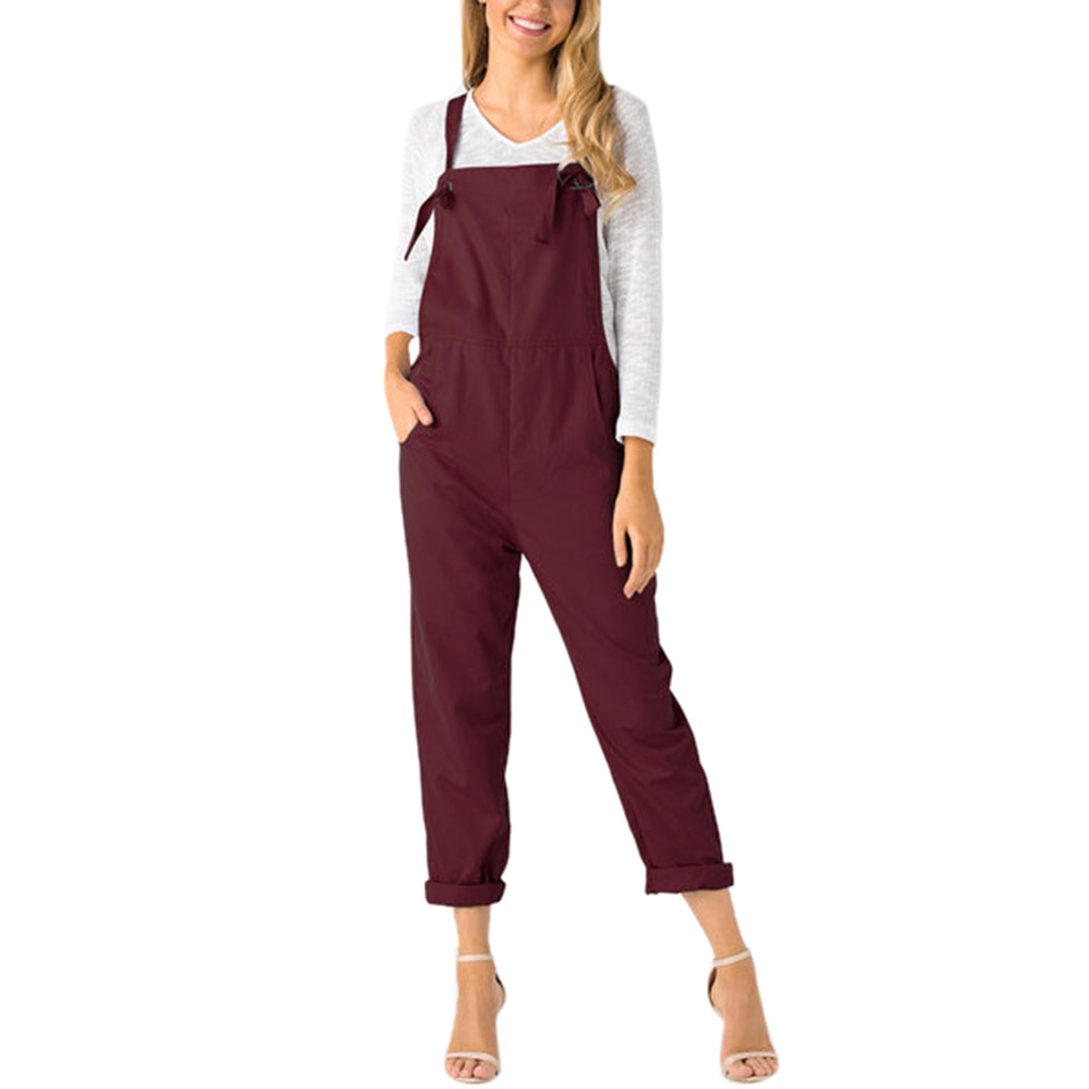 summer womens romper Loose Dungarees Loose Long Pockets solid Rompers   Jumpsuit   Pants Trousers mamelucos womens   jumpsuit  *45