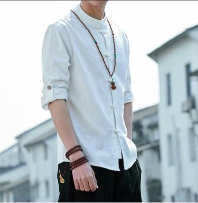 S-5XL ! Men Spring autumn Seven-point sleeve button linen stand collar shirt vintage casual Chinese style Male clothing costumes 1