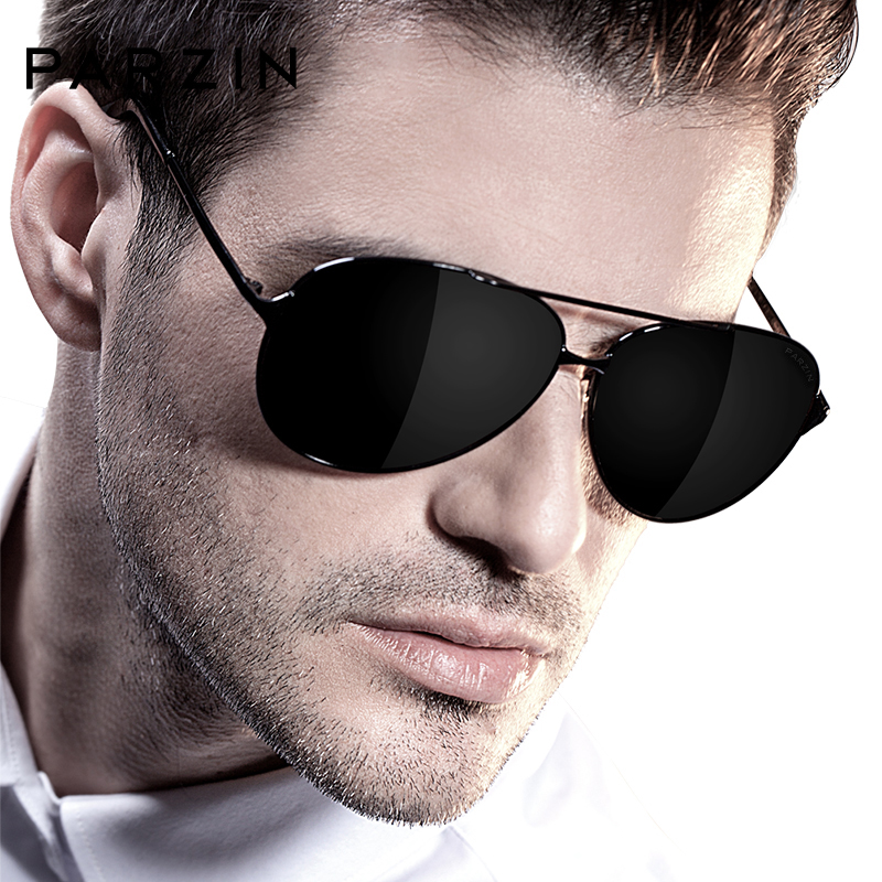 PARZIN  Mens Polarized Aviation Alloy Frame Sunglasses 2019 Brand Design  Pilot Male Black UV400 Sun Glasses Driving