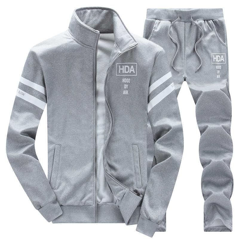 Спортивный костюм для мужчин комплект пот Новый 2019 бренд осень зима флис 2 шт. Стенд воротник флис лоскутное повседневное мужская толстовка с капюшоном