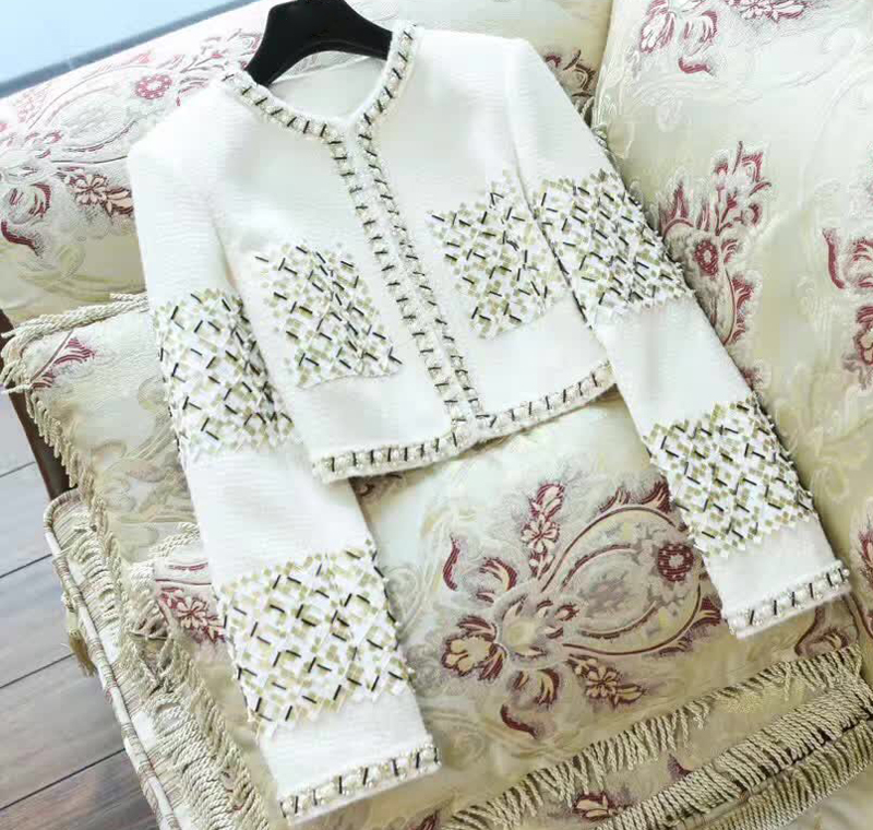 Tweed mantel damen beige