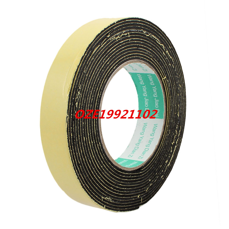 5Meter 25mm x 2mm Single-side Adhesive Shockproof Sponge Foam Tape Yellow Black 1pcs single sided self adhesive shockproof sponge foam tape 2m length 6mm x 80mm