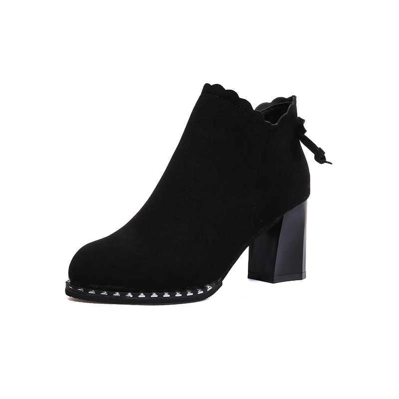 Vintage ฤดูใบไม้ร่วงข้อเท้ารองเท้าแฟชั่นรองเท้าส้นรองเท้ารองเท้าผู้หญิง Chunky Heels กลับซิปหญิง Plus ขนาดสั้น Boot สำหรับ Laides botas