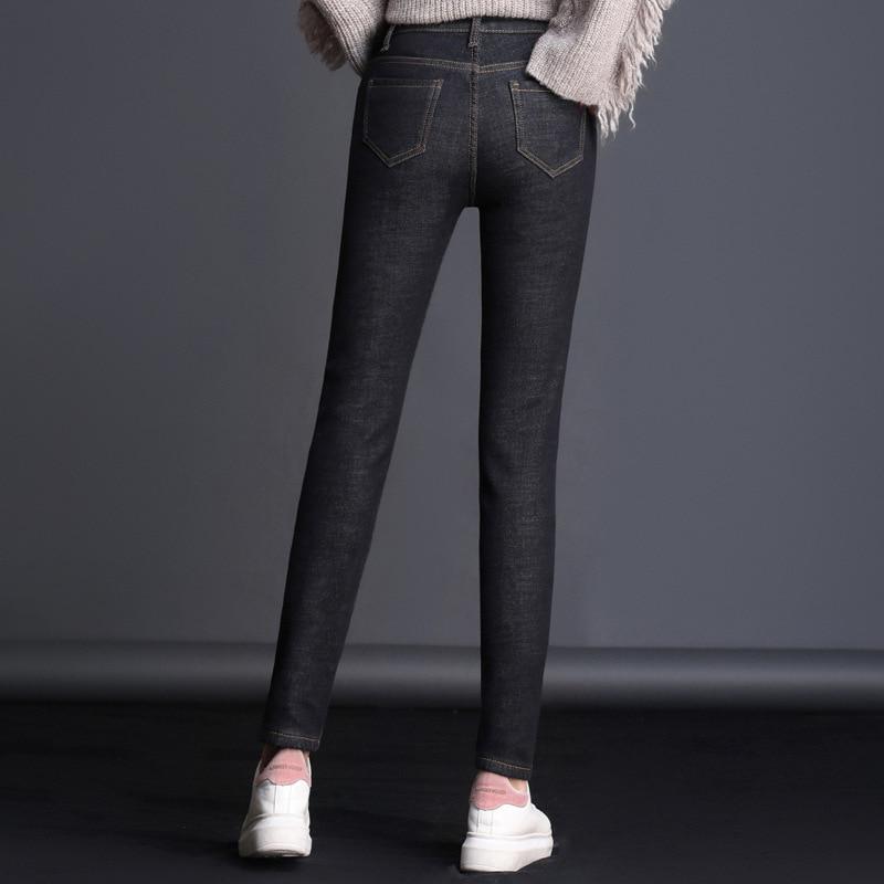 MÃE Mulheres Stretchy Jeans Homme Mulher Alta Elastic Bolsos Botão 1VF001-016 Inverno Alta Cintura Fina Calças Jeans Stretch Mulheres