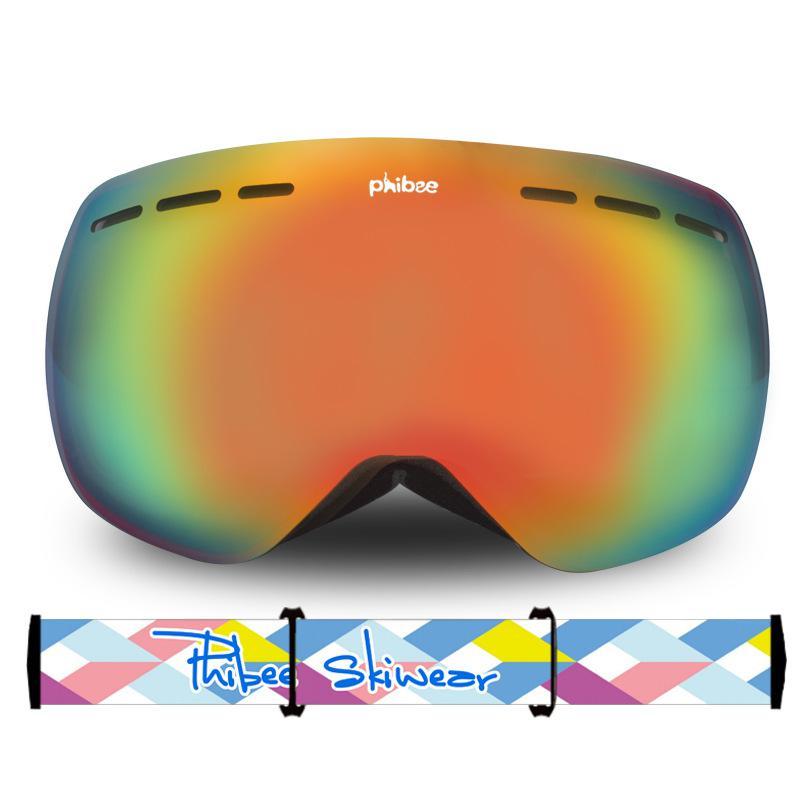 Большие двухслойные лыжные очки унисекс с сферическим покрытием, защита от ветра, защита глаз - 3