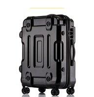 Чемодан на колесиках, полностью металлическое покрытие, Дорожный чемодан, люксовый бренд, деловой металлический для полировки, сумки на кол