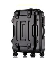 Rolling Luggage Bag Full Metal Plating Travel Suitcase Luxury Brand Business Polishing Metal PC Trolley Bags