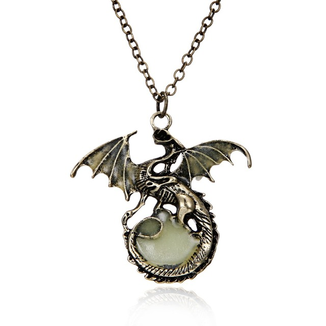 Game of Throne 6 colors Punk Luminous Dragon Pendants Necklaces