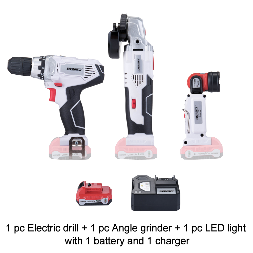 Keinso/NEWONE 12V power tools set Angle grinder Electric drill and Led light share with one lithium battery and one chargerKeinso/NEWONE 12V power tools set Angle grinder Electric drill and Led light share with one lithium battery and one charger