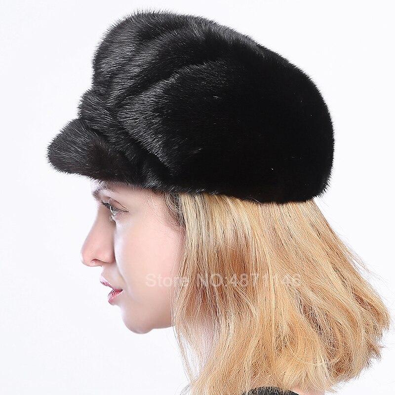 Nouveau automne hiver femmes hommes dame vraie fourrure vison chapeaux pour hommes femmes femme visière chaude véritable naturel vison fourrure casquettes de Baseball chapeaux