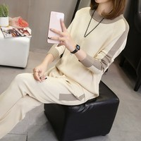 Plus Size New Autumn Winter Women Two Piece Sets Fashion Tops And Pencil Pants Knitted Suit Female Casual Sportswear