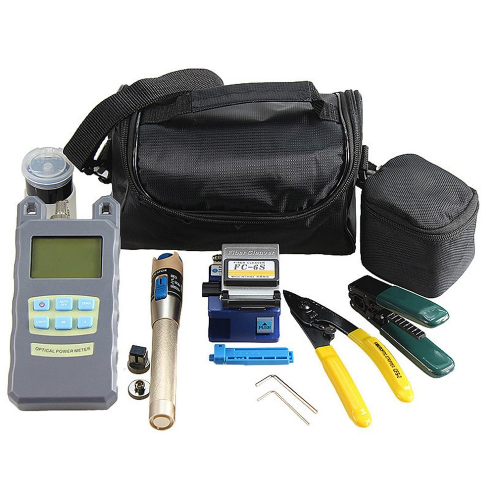 Practical 15pcs Fiber Optic FTTH Tool Kit Fiber Cleaver Optical Power Meter Tester Visual Fault Locator Fiber Stripper mt 7601 fiber optic power meter laser fiber optic tester optical fiber power meter automatic identification frequency