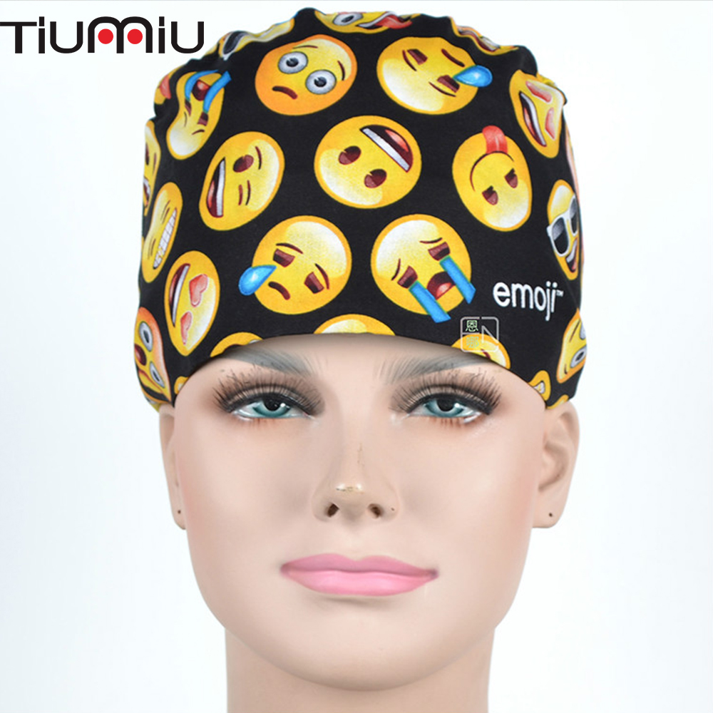Emoji Cute Funky Medical Surgical Scrub Caps Anesthetist Hospital Pet Doctor Nurse Dentist Beauty Salon Surgeon's Surgery Hat image
