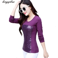 Autumn And Winter Large Size Slim Women S Long Sleeved Sequins Round Neck Pure Cotton Solid