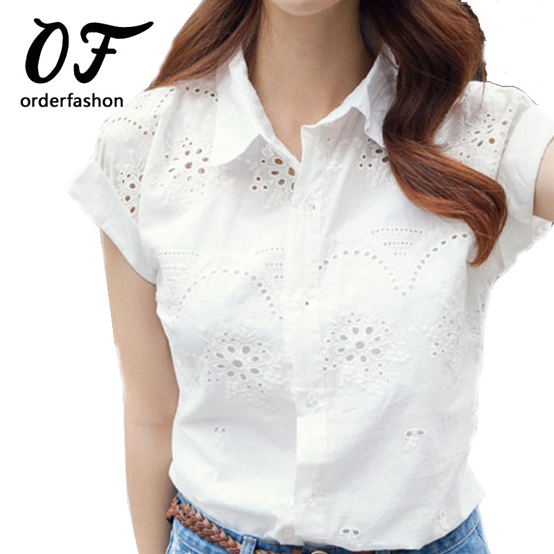 Buy fashion 2016 summer style women shirt for White linen ladies shirt