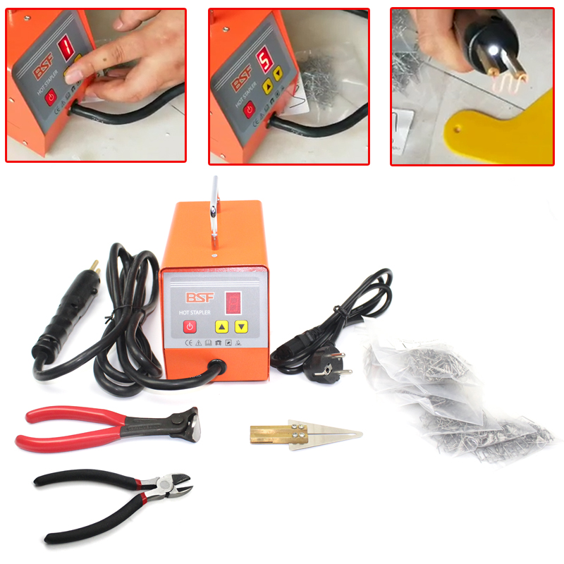 цена 220V Hot stapler Plastic welding machine with 600pcs staples plastic repair kit plastic welder stapler for motor or car