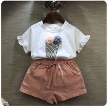 2PCS Toddler Kids Baby Girls icecream pattern T-shirt Tops+Floral Shorts Pants Outfit Clothes Set