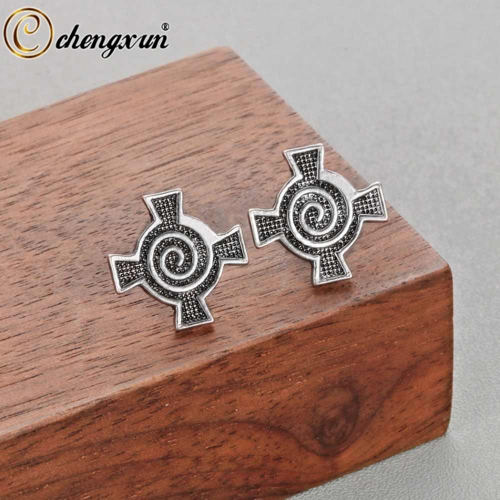 CHENGXUN Мода славяне Викинги Руны Для мужчин серьги женский крест античное серебро бойфренд подарок символ Трикветр женщин серьги гвоздики
