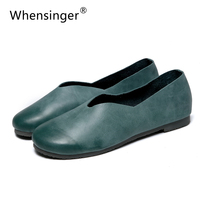 Whensinger - 2017 Woman Shoes Female Genuine Leather Flats Slip On Summer Fashion Design F927