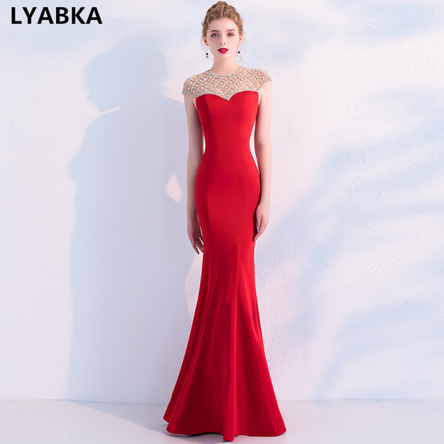 372bb66bdb US $168.48 19% OFF|Reflective Dress Prom Dress Red Satin With Beading  Mermaid Prom Dresses Robe De Soiree 2019 Vestidos De Festa Prom Dresses  Long-in ...