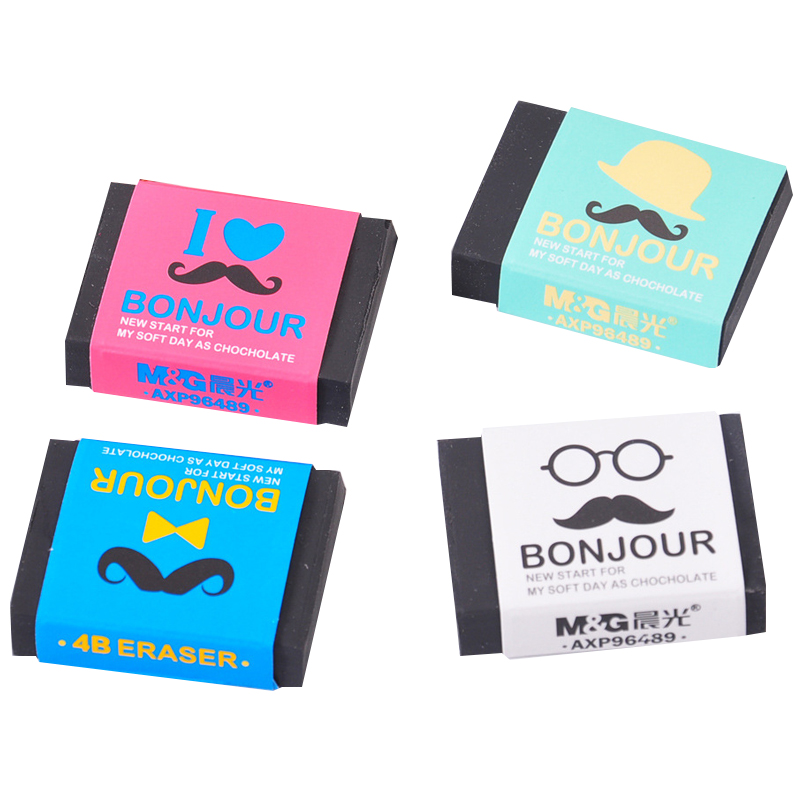 4B Black Cute Kawaii Mr.Moustache Black Eraser Student Artist School Supplies Novetly Soft Rubber Sketch Office Stationery