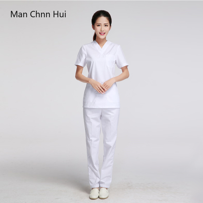 clinical uniforms woman white nursing uniform scrubs short sleeve coat Doctor Clothing Brush hand clothing Scrub Set