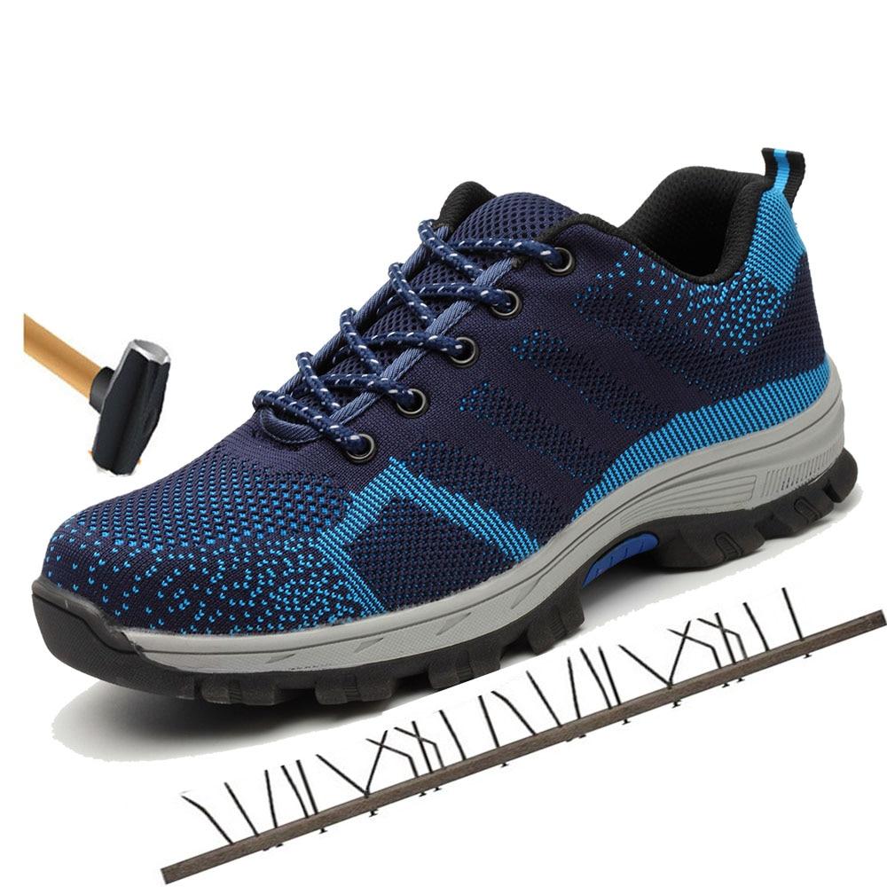 Botas de seguridad de trabajo con puntera de acero de malla transpirable para hombre al aire libre antideslizante zapatos de seguridad a prueba de punción de acero