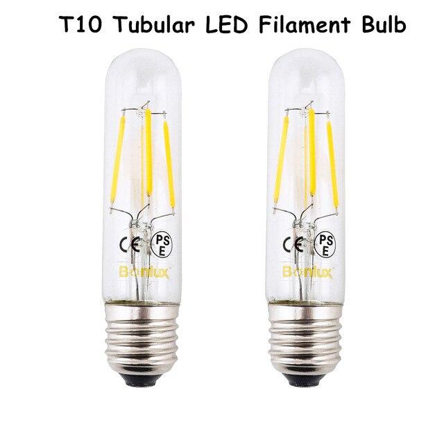 E26 LED Chandelier Bulb T10 4W Long Tubular Filament Lamp 110V 220V  Incandescent Tube Light 2700K