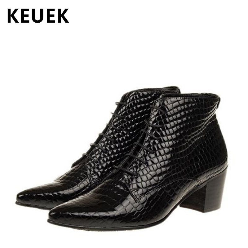 British style Men Motorcycle boots Lace-Up Pointed Toe Ankle boots Med-heel shoes Genuine leather Male Fashion boots 02CBritish style Men Motorcycle boots Lace-Up Pointed Toe Ankle boots Med-heel shoes Genuine leather Male Fashion boots 02C